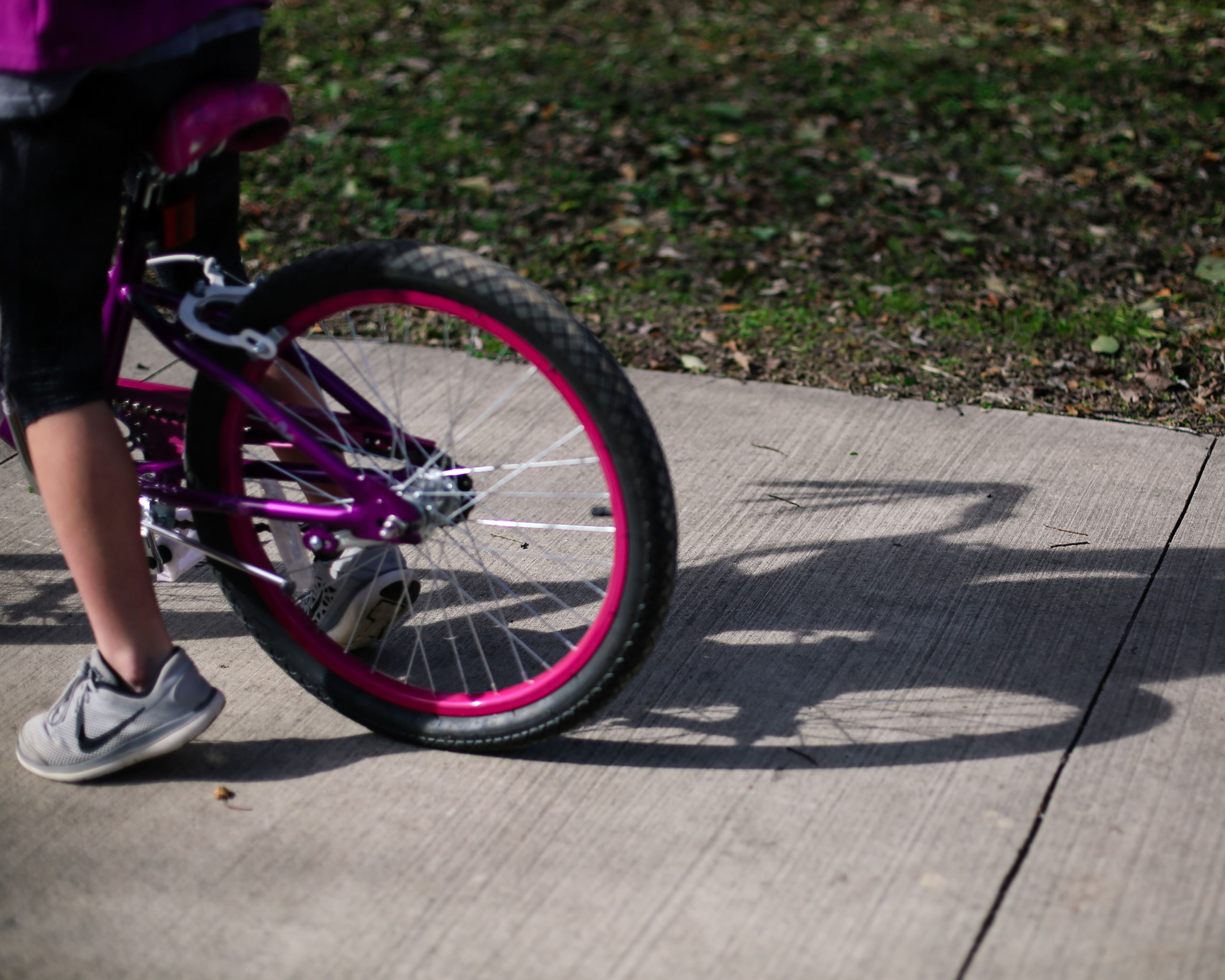 Back wheel of a girl's bike