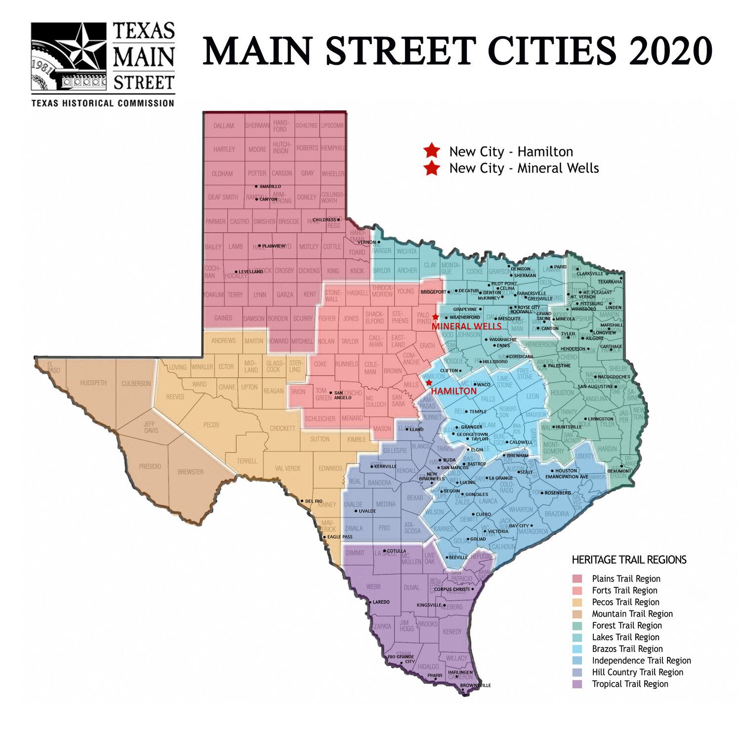Texas Main Street Map 2020